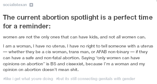 Abortion Rights Is Cissexist According To Tumblr