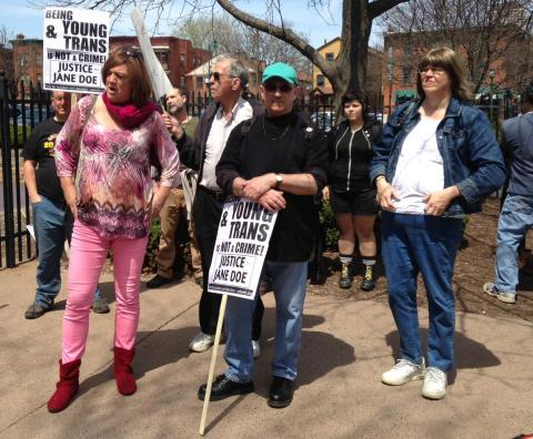 "Male activists at ""Justice For Jane"" rally (photo credit: WNPR)"